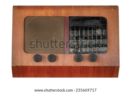 Vintage radio table top set pre world war II style isolated on white with working path - stock photo