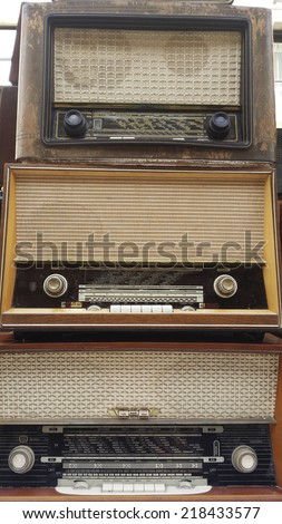 Vintage radio tuner receivers  - stock photo