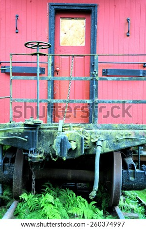 Vintage railroad car displayed outdoors. - stock photo