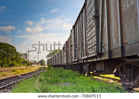 Vintage railroad container with rusty and old color. - stock photo