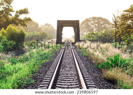 vintage railroad in thailand - stock photo