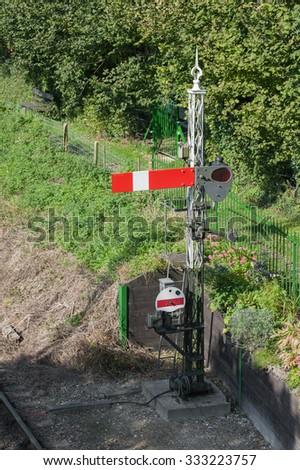 vintage railroad semaphore signal point - stock photo