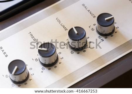 vintage record player macro close-up, amplifier dials detail  - stock photo