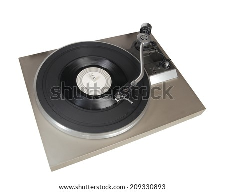 Vintage record player with vinyl record isolated on white - stock photo