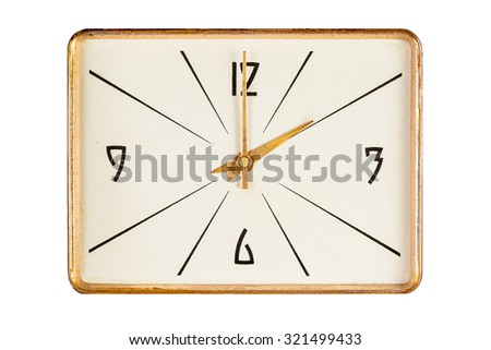 Vintage rectangle clock face in golden yellow frame showing two o'clock isolated over white background - stock photo