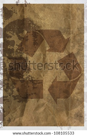 vintage recycle ecological product abstract  rusty colored background. - stock photo