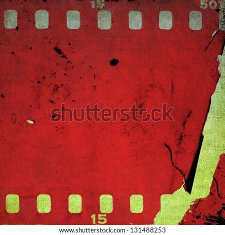 Vintage red film strip frame - stock photo