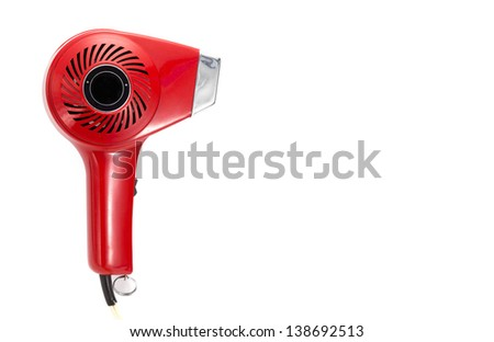 vintage red hair dryer on a white background - stock photo