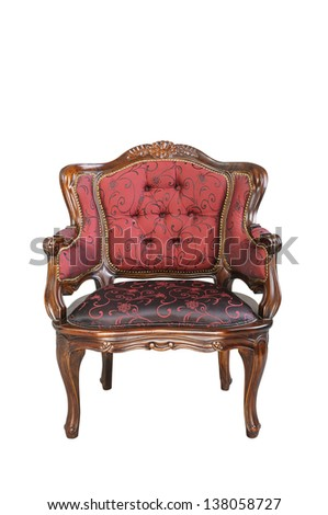 Vintage red silk cloth chair isolated on white background - stock photo