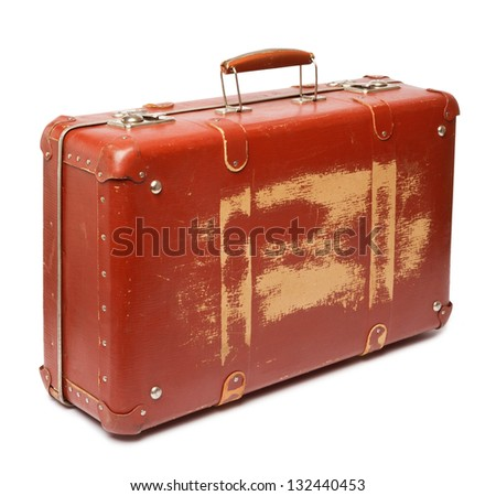 Vintage red suitcase on white background - stock photo