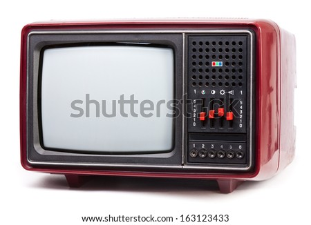 Vintage red Television set on white background - stock photo