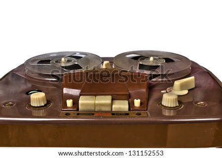 vintage reel-to-reel recorder, close up - stock photo