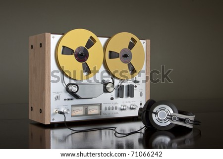 Vintage Reel-to-Reel stereo tape deck recorder - stock photo