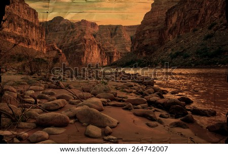 Vintage rendition of the Grand Canyon as seen from the Colorado River. - stock photo