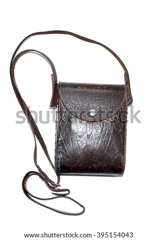 Vintage retro  card-case embossed dark brown leather. The Second World War military bag. - stock photo