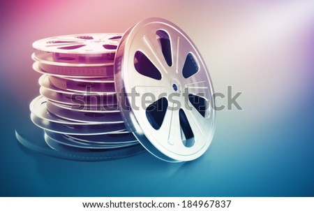 Vintage retro cinema film disk with tape. 3d rendered illustration - stock photo