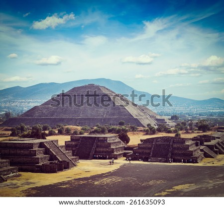 Vintage retro effect filtered hipster style image of Mexico travel background - Ancient Pyramid of the Sun. Teotihuacan. Mexico - stock photo