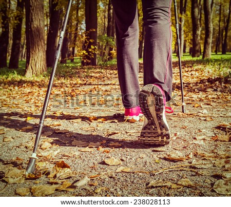 Vintage retro effect filtered hipster style image of nordic walking: adventure and exercising concept - woman hiking, legs and nordic walking poles in autumn nature - stock photo