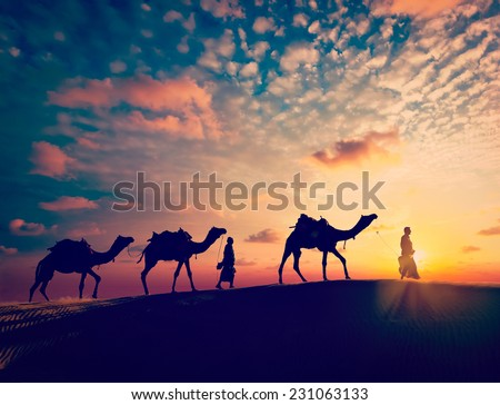 Vintage retro effect filtered hipster style image of  Rajasthan travel background - two indian cameleers with camels silhouettes in Thar desert dunes on sunset. Jaisalmer, Rajasthan, India - stock photo
