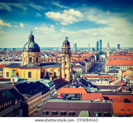 Vintage retro effect filtered hipster style travel image of aerial view of Munich over Theatine Church of St. Cajetan (Theatinerkirche St. Kajetan) and Odeonplatz, Munich, Bavaria, Germany - stock photo