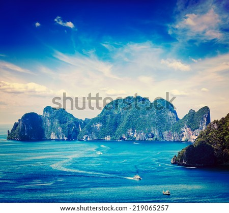 Vintage retro effect filtered hipster style travel image of aerial view of Phi Phi Leh island in Andaman Sea, Krabi Thailand - stock photo