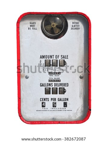 Vintage (retro) gasoline pump isolated in white background. - stock photo