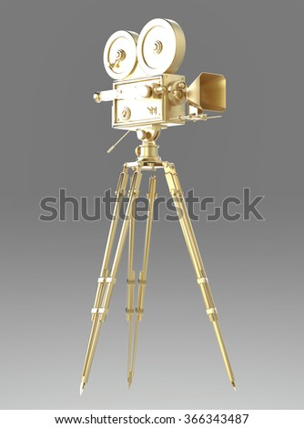 vintage retro golden movie camera on tripod mount isolated on white high quality 3d rendering  - stock photo