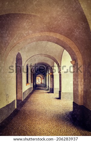 Vintage retro hipster style travel image of arcade in Prague, Czech Republic with grunge texture overlaid - stock photo