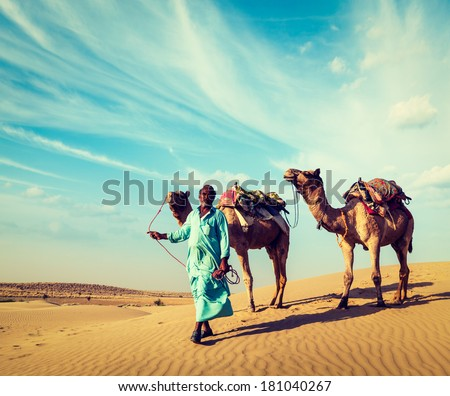Vintage retro hipster style travel image of Rajasthan travel background - Indian cameleer (camel driver) with camels in dunes of Thar desert. Jaisalmer, Rajasthan, India - stock photo