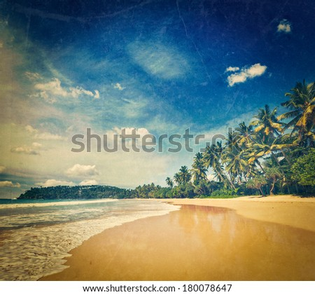Vintage retro hipster style travel image of tropical vacation holiday background - paradise idyllic beach with grunge texture overlaid. Sri Lanka - stock photo