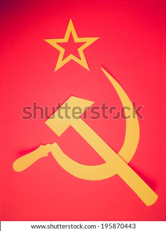 Vintage retro looking Communist CCCP Flag with hammer and sickle, symbols of communism, yellow over red - stock photo
