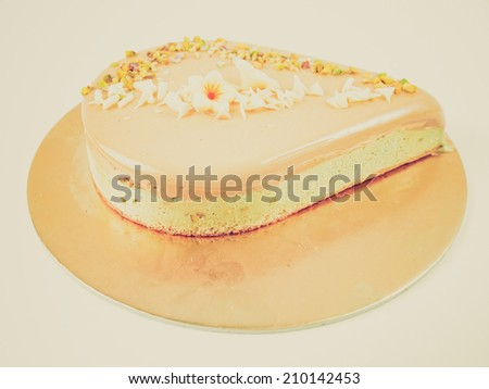 Vintage retro looking Pie or cake with fruit and icecream - isolated over white background - stock photo