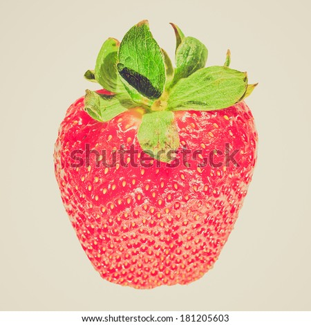 Vintage retro looking Strawberry fruit healthy vegetarian cuisine food - isolated over white background - stock photo