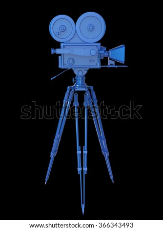 vintage retro movie camera on tripod mount blue metallic isolated on white high quality 3d rendering  - stock photo