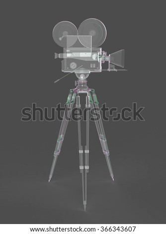 vintage retro movie camera on tripod mount soap bubble isolated on white high quality 3d rendering  - stock photo