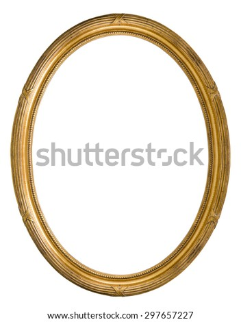 Vintage Retro old golden color wooden Picture Frame - stock photo