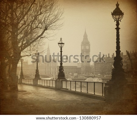 Vintage Retro Picture of Big Ben / Houses of Parliament in London - stock photo