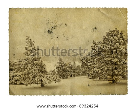 Vintage retro style winter christmas photo isolated - stock photo