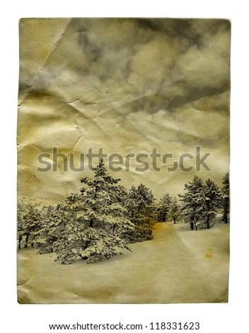 Vintage retro style winter landscape christmas photo isolated - stock photo