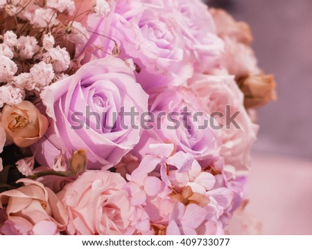 Vintage Retro Tone of Beautiful Rose at The Corner of The Big Bouquet of Flowers in The Vase for Interior, Selective Focus with Copy Space to input Text - stock photo