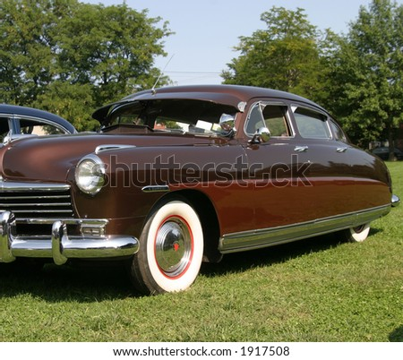 Vintage Retro Two Tone Brown  Car - stock photo