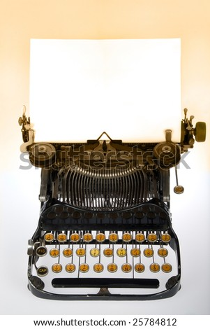 Vintage retro typewriter with blank white sheet on gradient background - stock photo