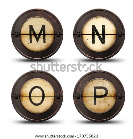 Vintage reversible typewriter letters MNOP on white  - stock photo