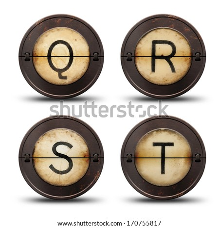 Vintage reversible typewriter letters QRST on white  - stock photo