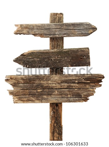 vintage road sign isolated on a white background - stock photo