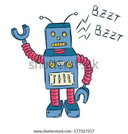 vintage robot - stock photo