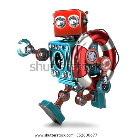 Vintage robot run with lifebuoy. Isolated. Contains clipping path - stock photo
