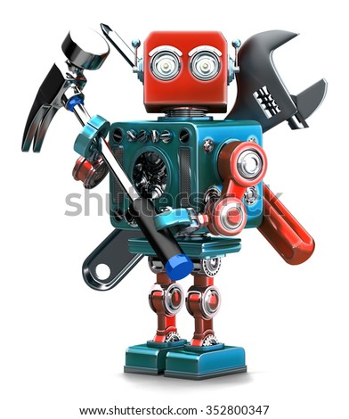 Vintage Robot with instruments. Isolated over white. Containsc lipping path - stock photo