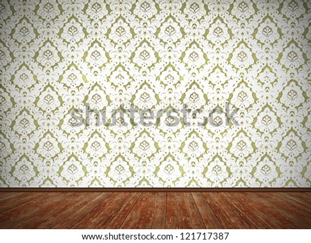 vintage room design, old fashioned floral wallpaper and weathered wooden floor, with dark edges - stock photo