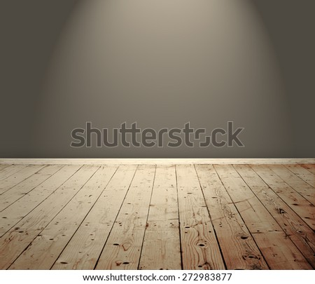 Vintage room interior with wooden floor and spotlight - stock photo